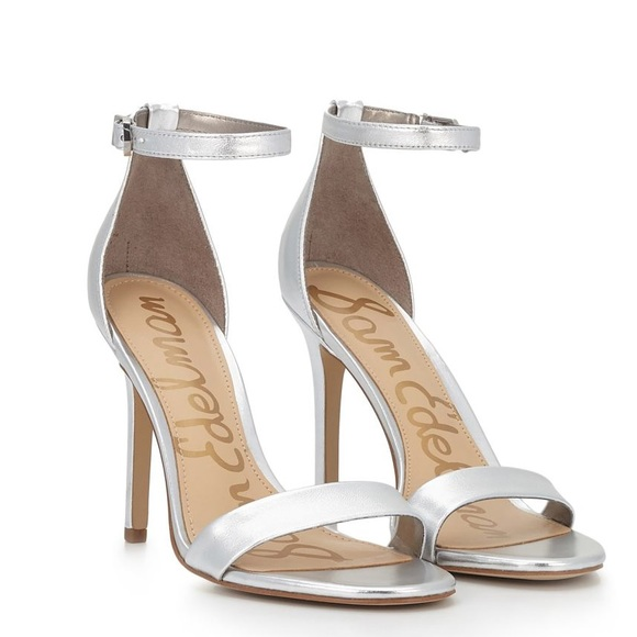 e2035da99433 Sam Edelman silver heels Eleanor peep toe